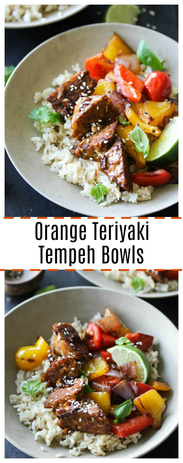 Orange Teriyaki Tempeh Bowls (vegan, gluten free) | dishingouthealth.com