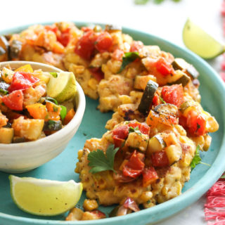 Chive Corn Fritters with Roasted Zucchini Salsa
