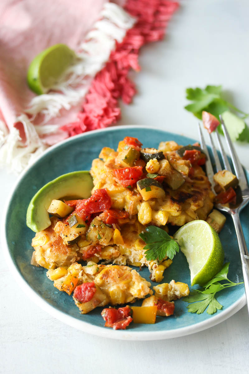 Chive Corn Fritters with Roasted Zucchini Salsa | dishingouthealth.com