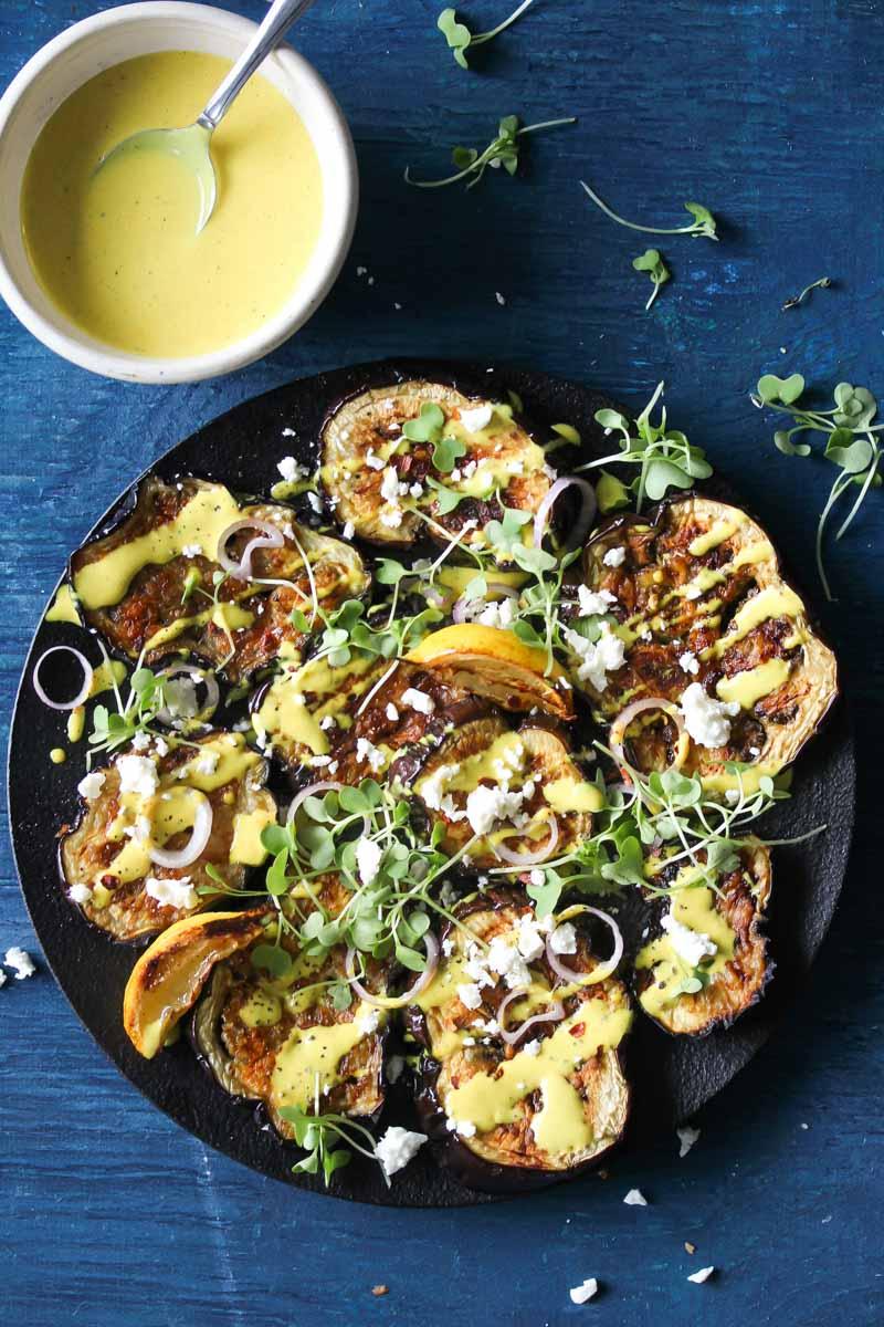 Miso-Roasted Eggplant with Turmeric-Tahini Sauce | dishingouthealth.com