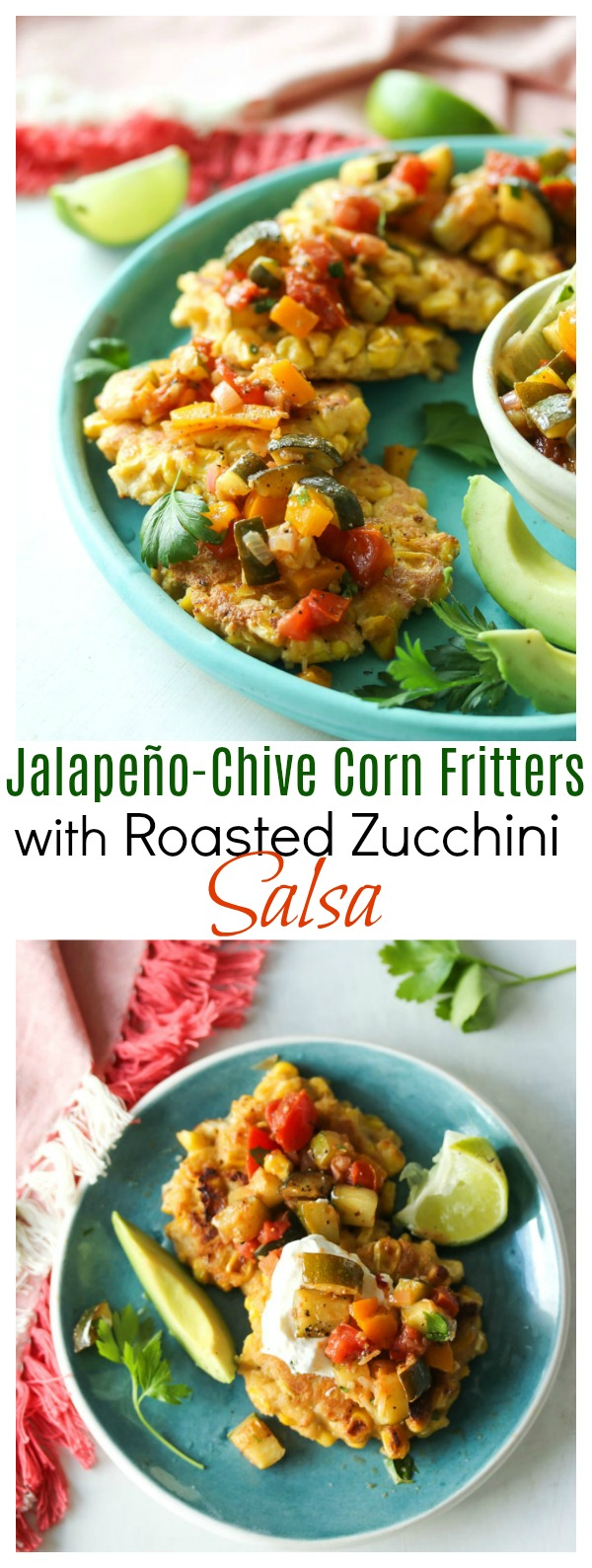Jalapeno-Chive Corn Fritters with Roasted Zucchini Salsa | dishingouthealth.com