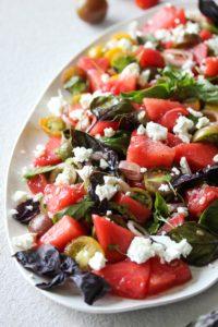 Watermelon and Tomato-Basil Salad   dishingouthealth.com
