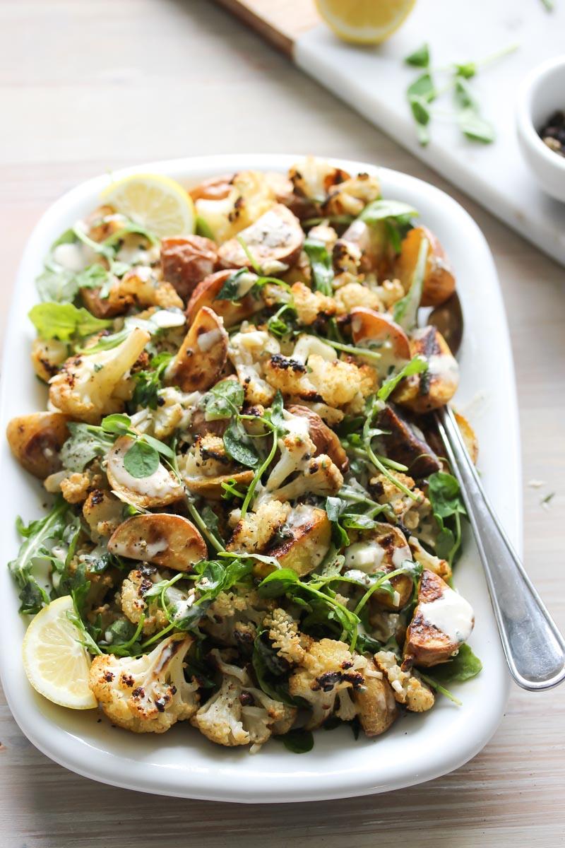 Roasted Cauliflower and Potato Salad with Tarragon Tahini