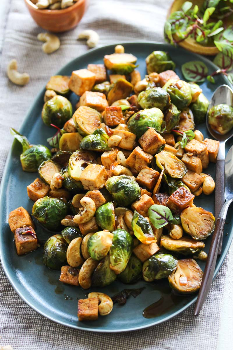 Sweet-and-Sour Tofu and Brussels Stir-Fry | dishingouthealth.com