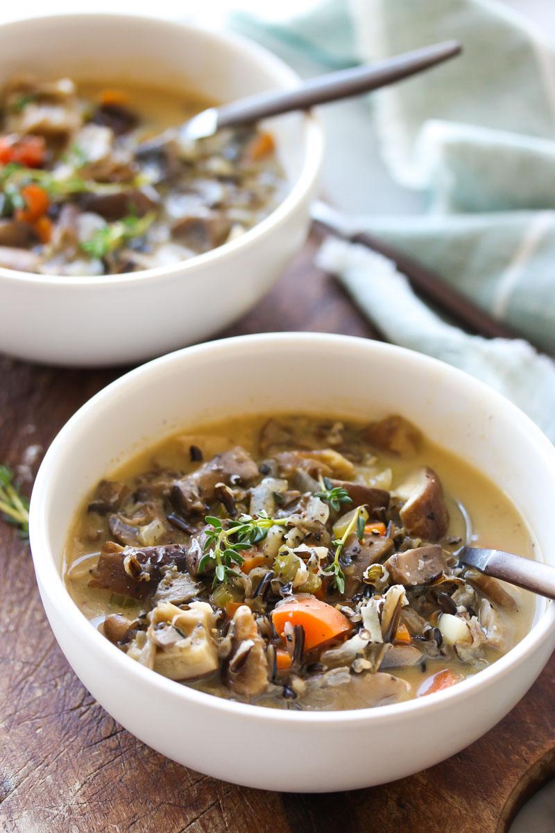 Wild Rice and Mixed Mushroom Soup | dishingouthealth.com