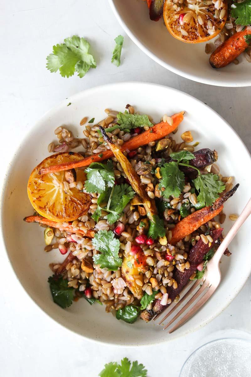 Coriander-Carrot Grain Bowls with Cilantro-Honey Dressing