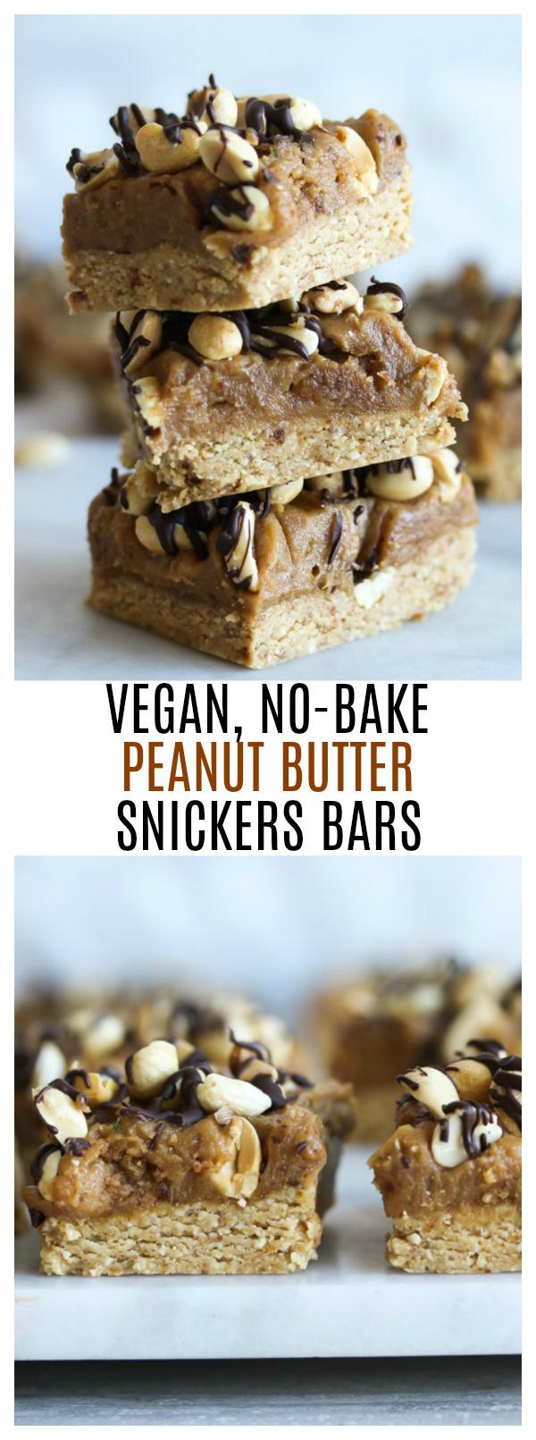 Vegan No-Bake Peanut Butter Snickers Bars