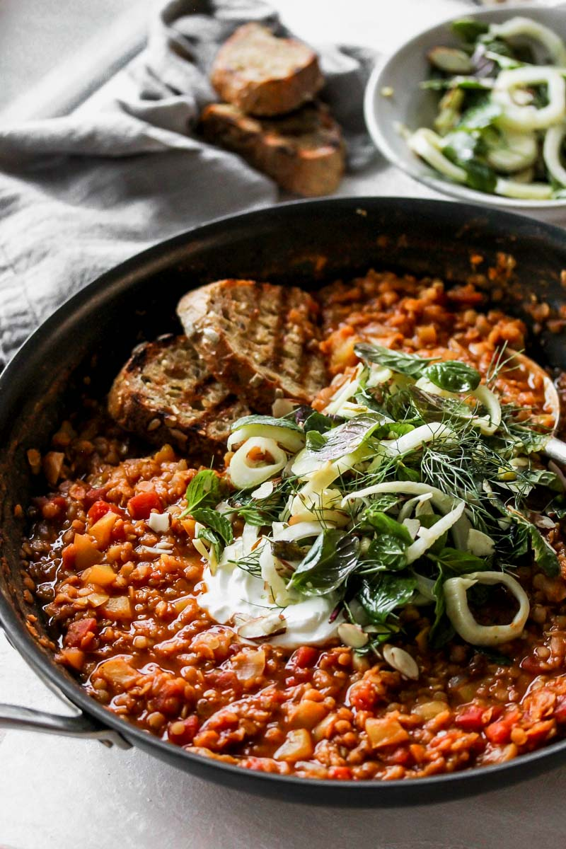 Harissa-Stewed Lentils with Pickled Fennel Salad