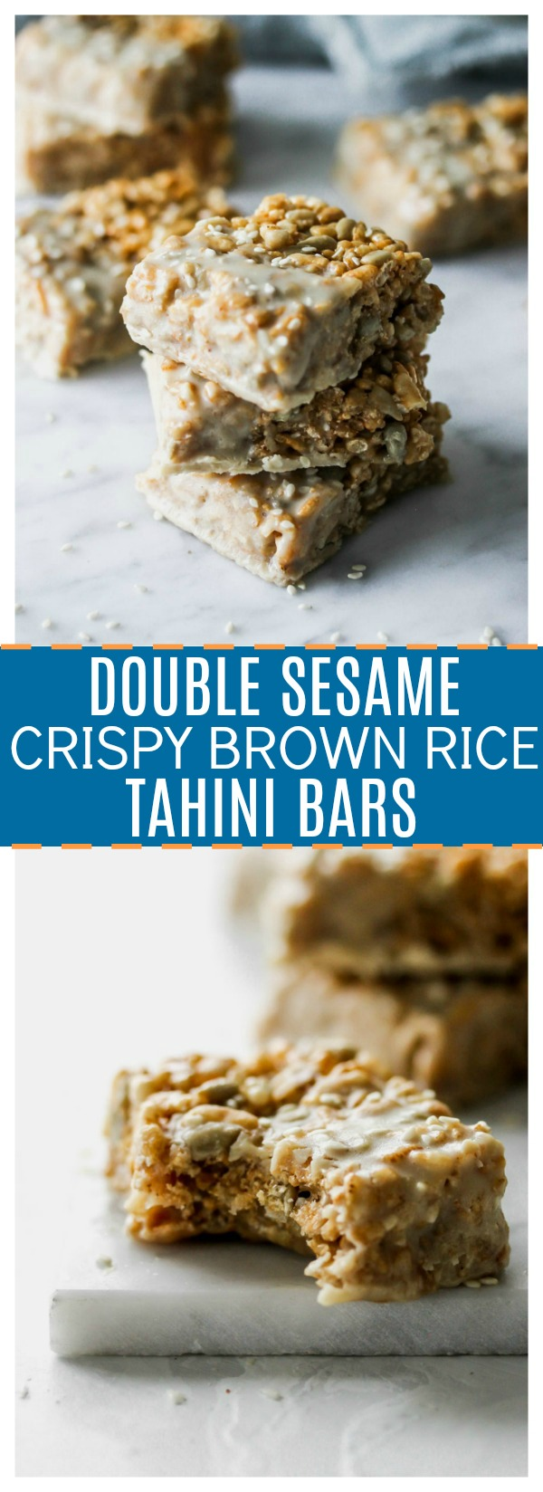 Double Sesame Crispy Brown Rice Bars