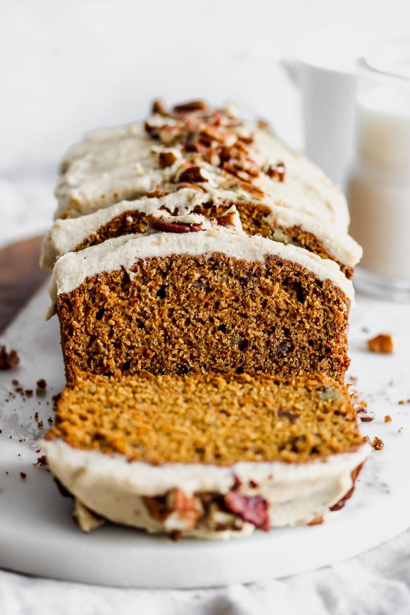 Carrot-Cardamom Bread with Cinnamon Cashew Cream