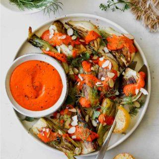 Roasted Fennel with Red Pepper-Horseradish Sauce