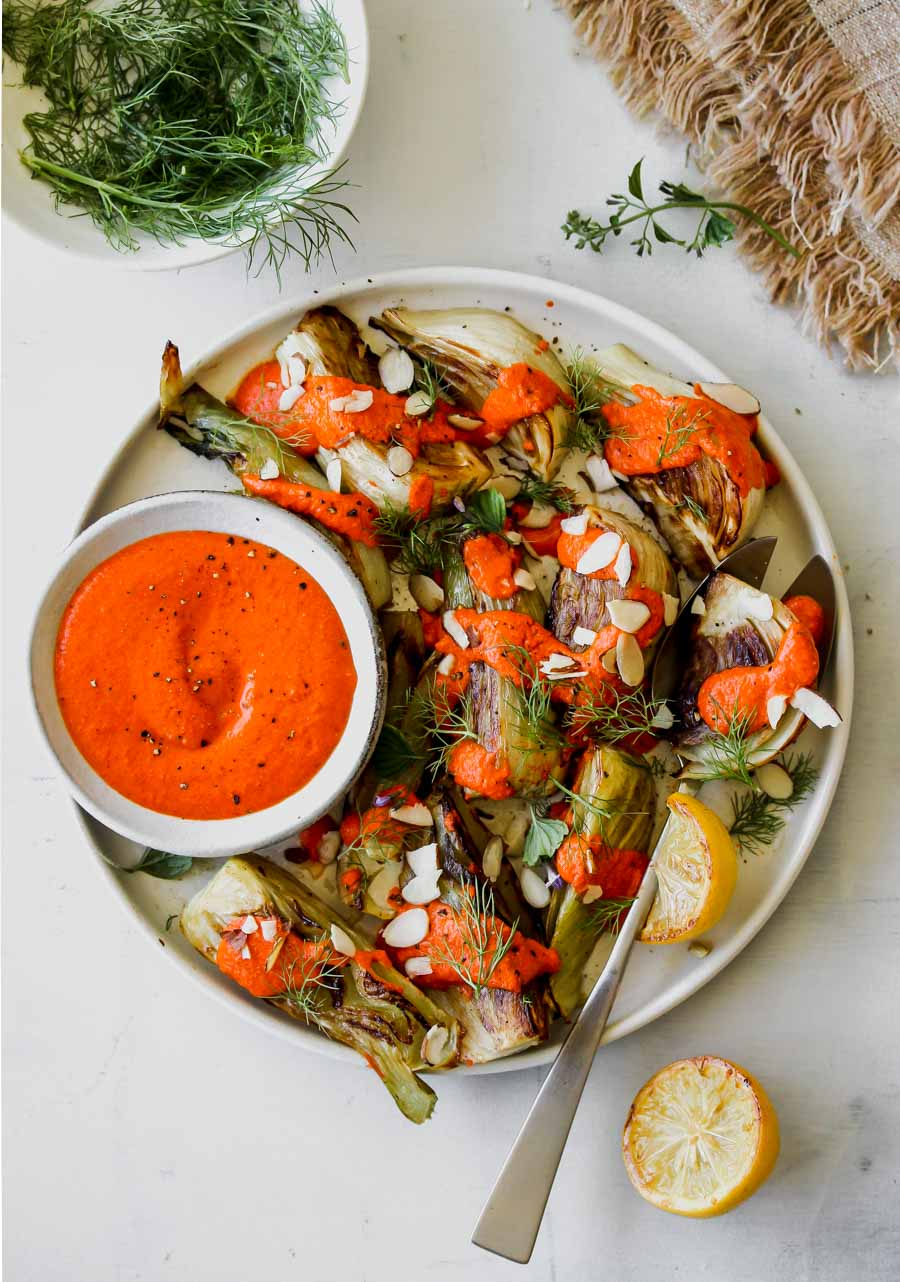 Roasted Fennel with Roasted Pepper-Horseradish Sauce