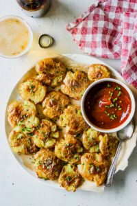 Salt and Vinegar Smashed Potatoes with Miso Ketchup