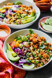 Tempeh Taco Salads with Chipotle-Tahini Dressing