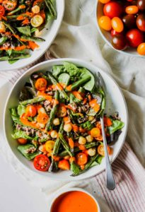 Wild Rice and Bean Salad with Red Pepper Harissa Dressing