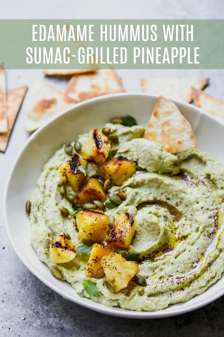 Edamame Hummus with Sumac-Grilled Pineapple