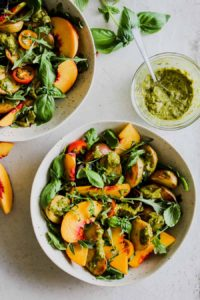 Crispy Potato and Peach Salad with Charred Scallion Dressing