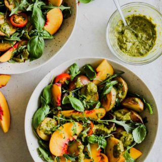 Crispy Potato and Peach Salad with Charred Scallion Dressing