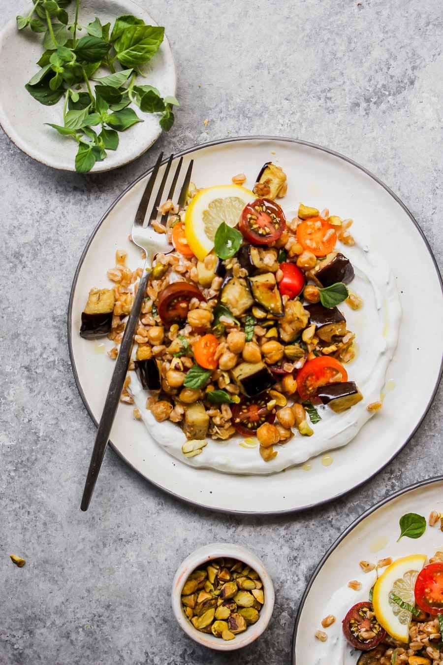 Eggplant and Chickpea Salad with Farro and Minty Yogurt