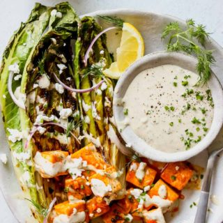 Grilled Romaine with Buffalo Tofu and Tahini Ranch