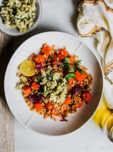 Balsamic-Roasted Carrots with Farro and Artichoke Gremolata