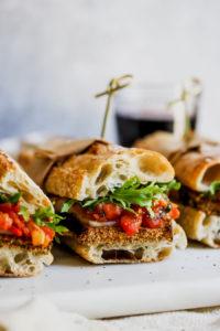 Crispy Eggplant Sandwiches with Tomato-Tarragon Relish
