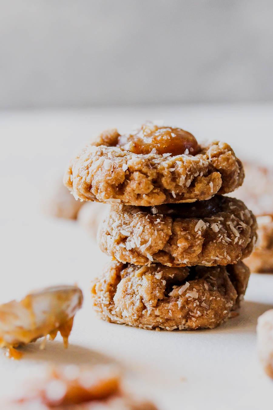 Vegan Salted Caramel Coconut Thumbprint Cookies