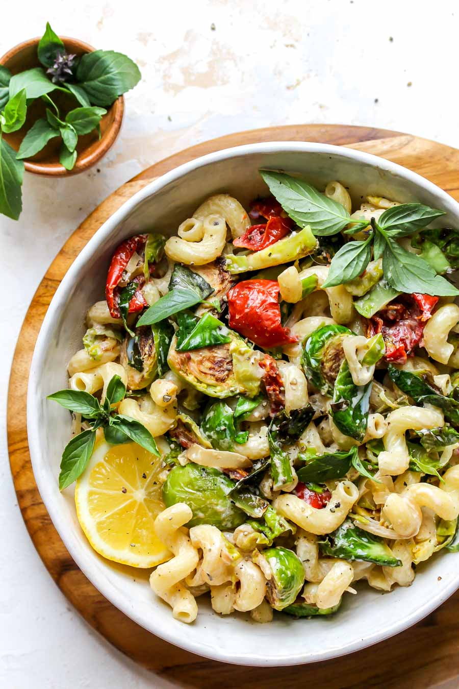 30 Minute Creamy Goat Cheese Pasta with Brussels