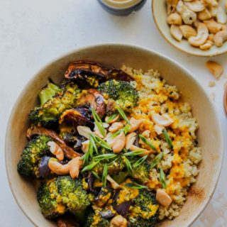 Roasted Veggie Quinoa Bowls with Miso-Turmeric Vinaigrette