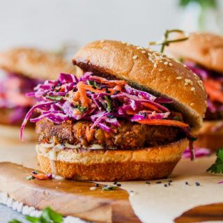 Spiced Lentil Burgers with Tahini Slaw (Vegan)