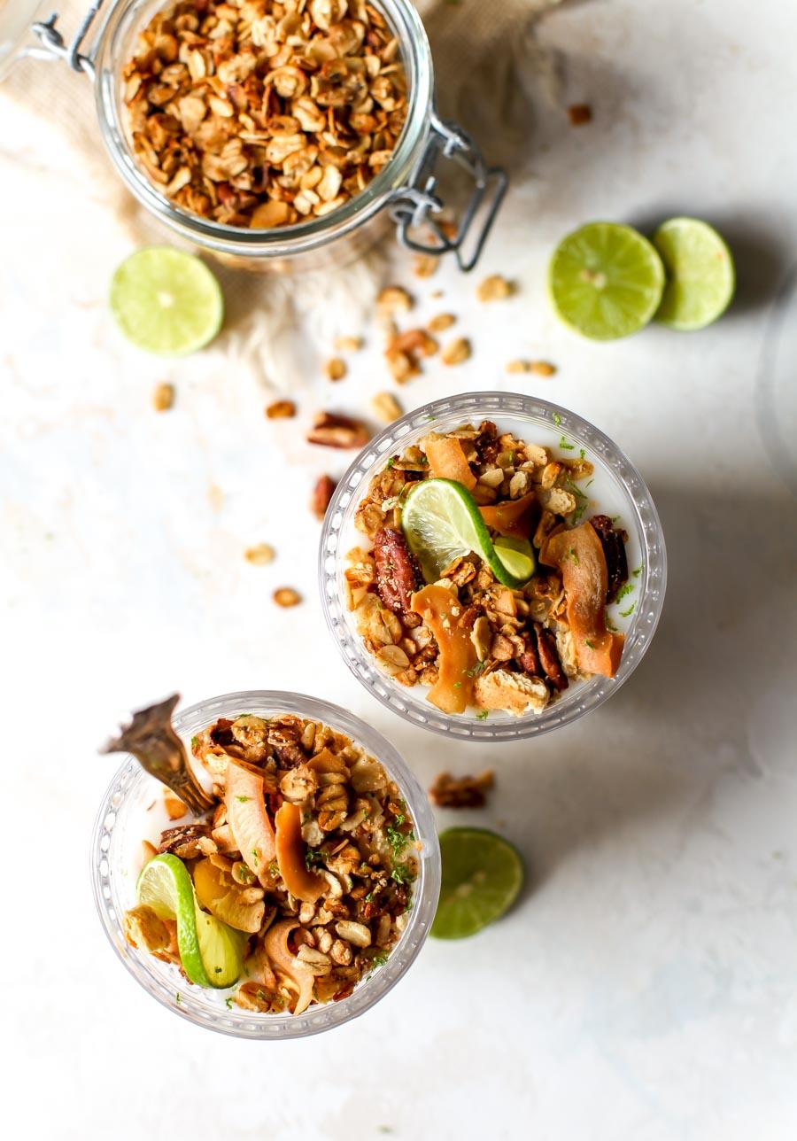 Key Lime Coconut Parfaits with Graham Cracker Granola
