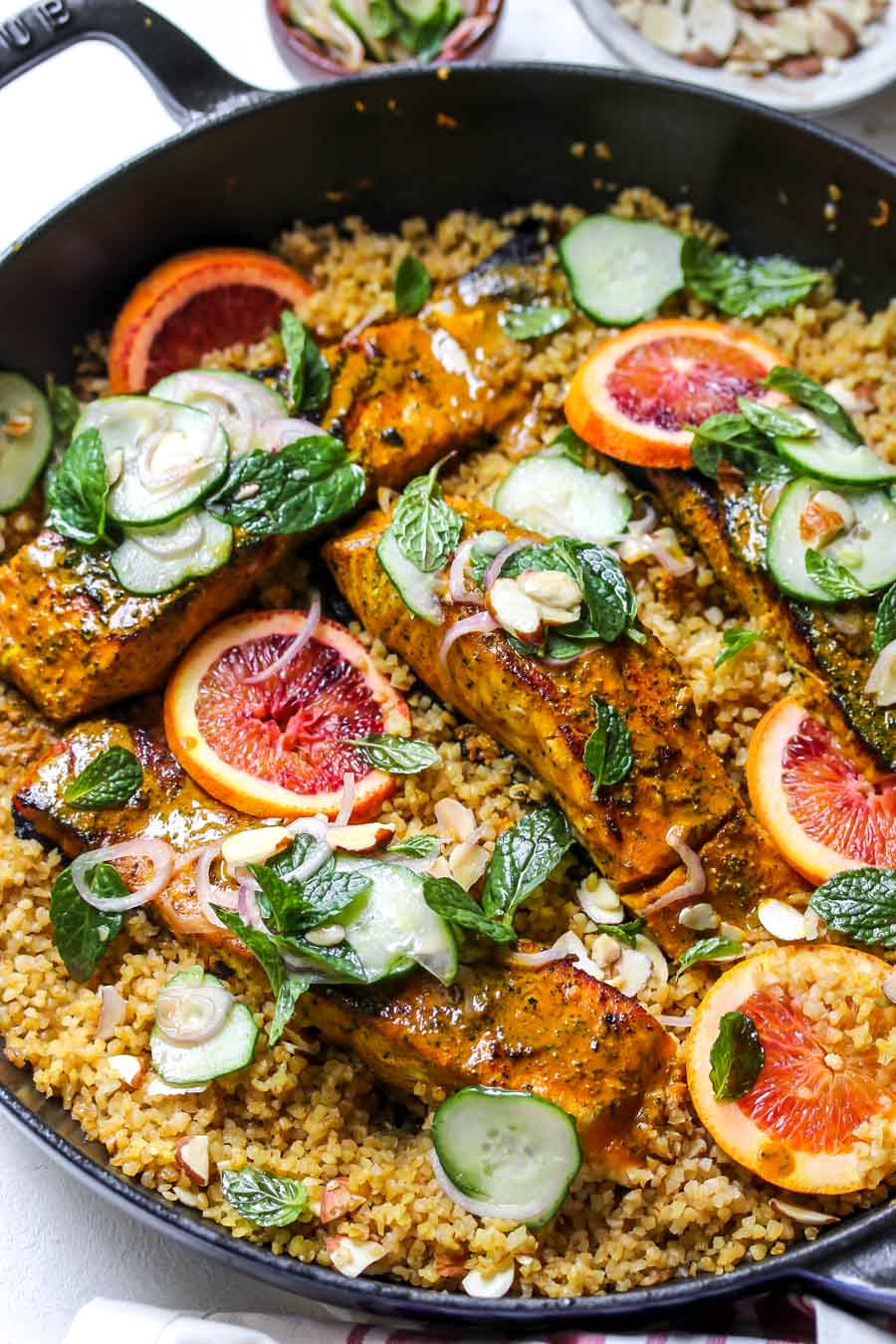 Salmon and bulgur skillet with cucumber-mint salad