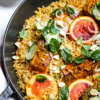 Turmeric-Glazed Salmon and Bulgur Skillet