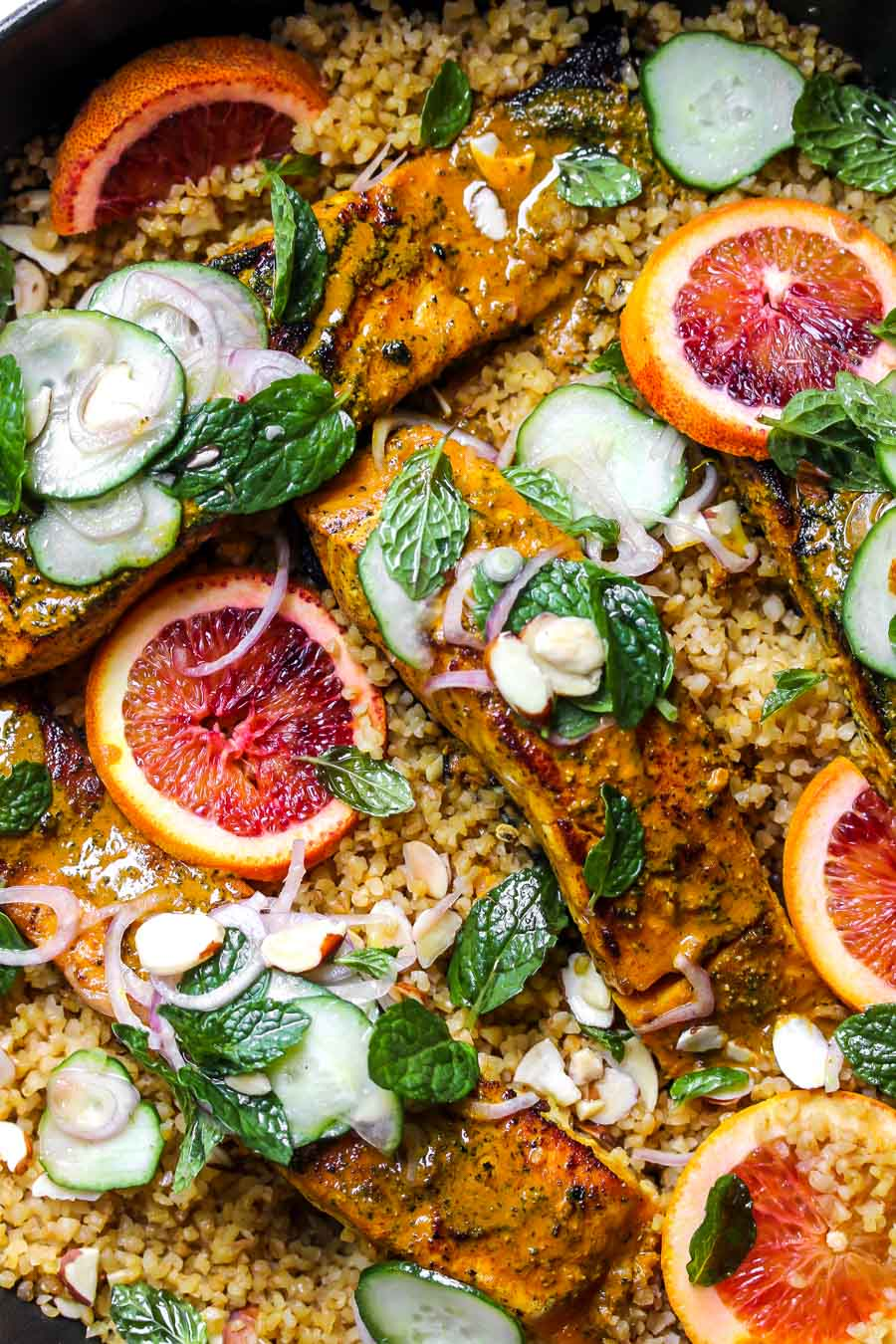 Turmeric-glazed salmon with bulgur and cucumber-mint salad