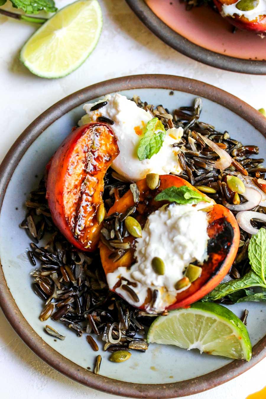 Honey-Harissa Peaches, Burrata, and Wild Rice