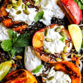 Grilled Peach and Wild Rice Salad with Burrata