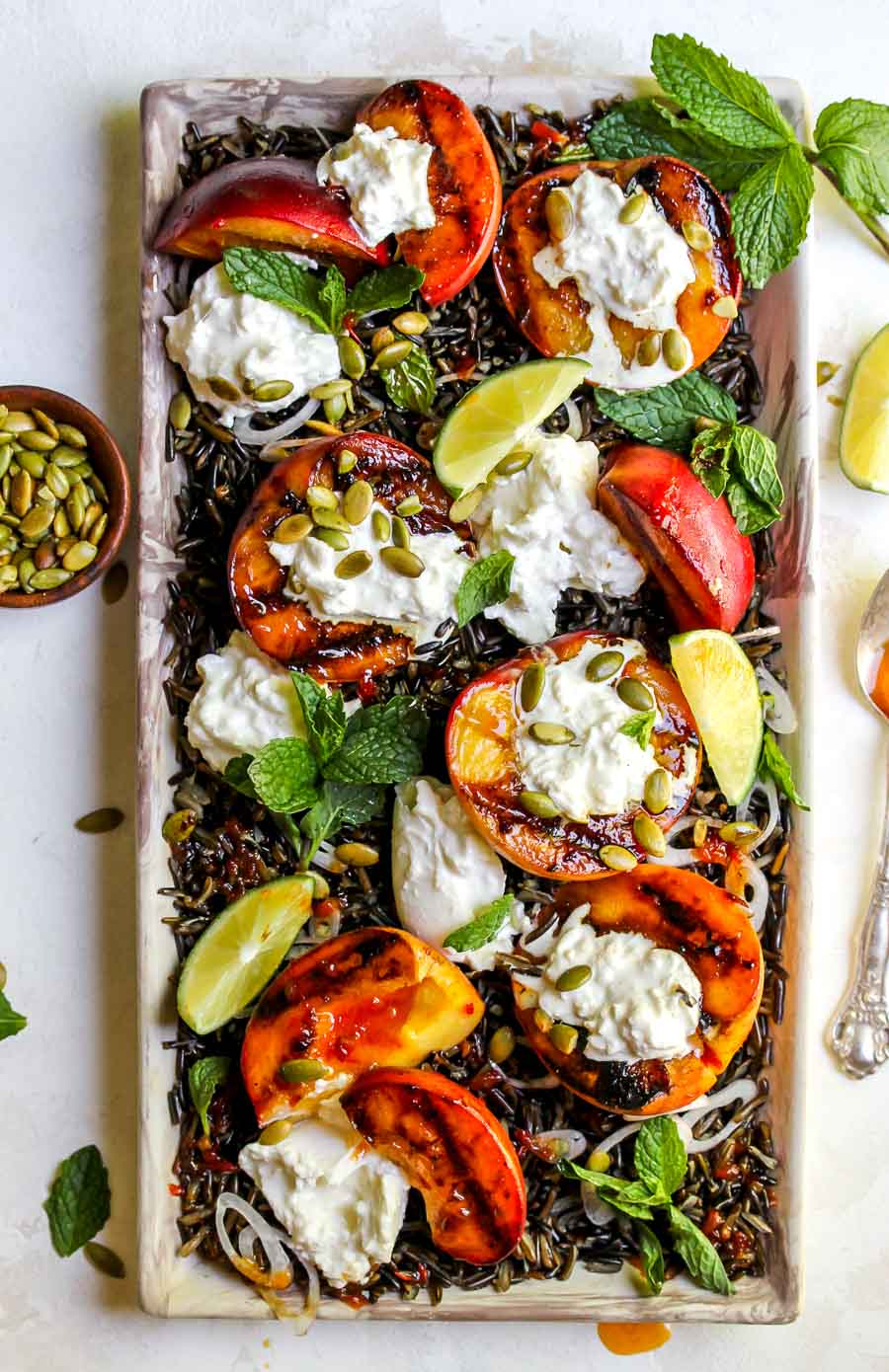 Grilled Peach and Burrata Salad with Wild Rice