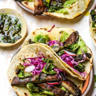 Portobello Tacos with Charred Scallion Salsa Verde