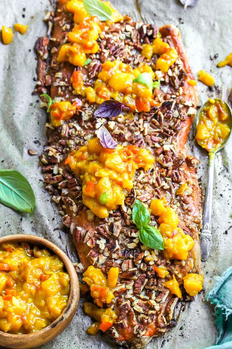 Roasted Salmon with Pecans and Mango Chutney