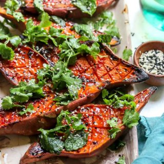Chile-Glazed Sweet Potatoes with Cilantro Salad