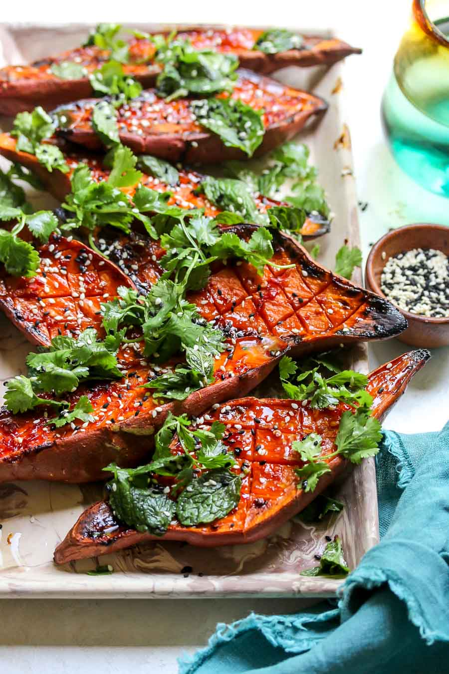Chile-Glazed Sweet Potatoes with Cilantro Salad