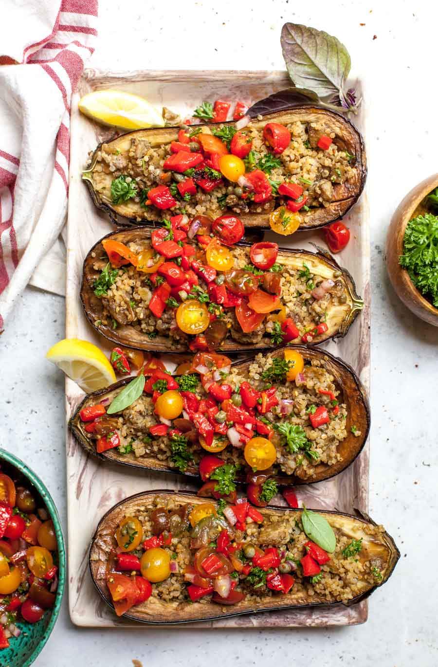 Mediterranean Stuffed Eggplant with Salsa