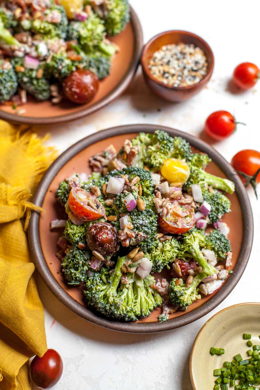 Everything Bagel Spiced Broccoli Salad with Goat Cheese Dressing