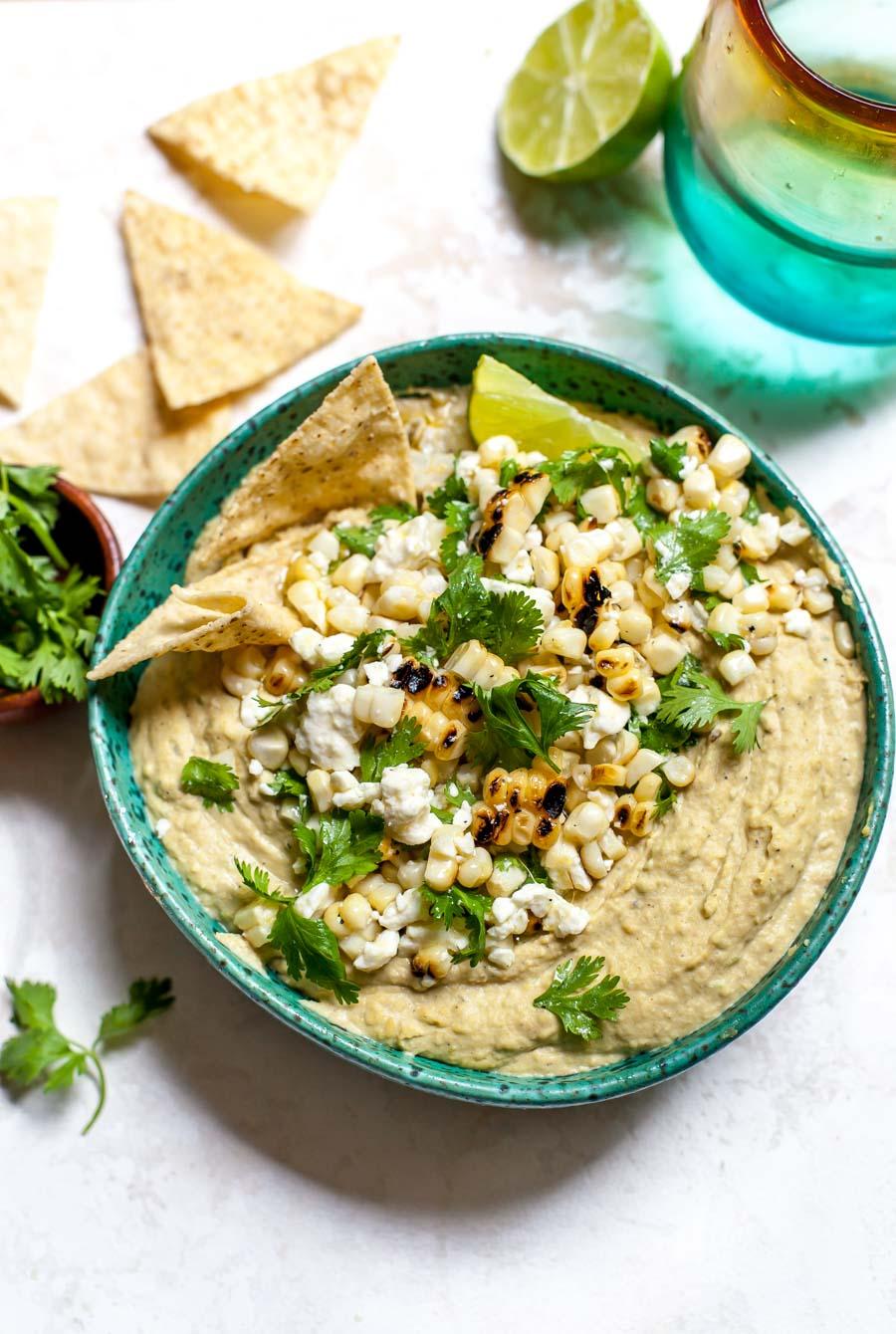 Charred Jalapeño Hummus with Corn and Feta