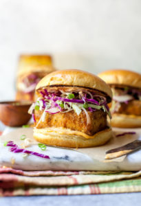 Chicken Fried Tofu Sandwiches with Spicy Mayo and Slaw