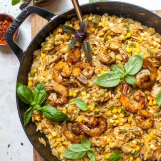 One Pan Creamed Corn Orzo with Shrimp
