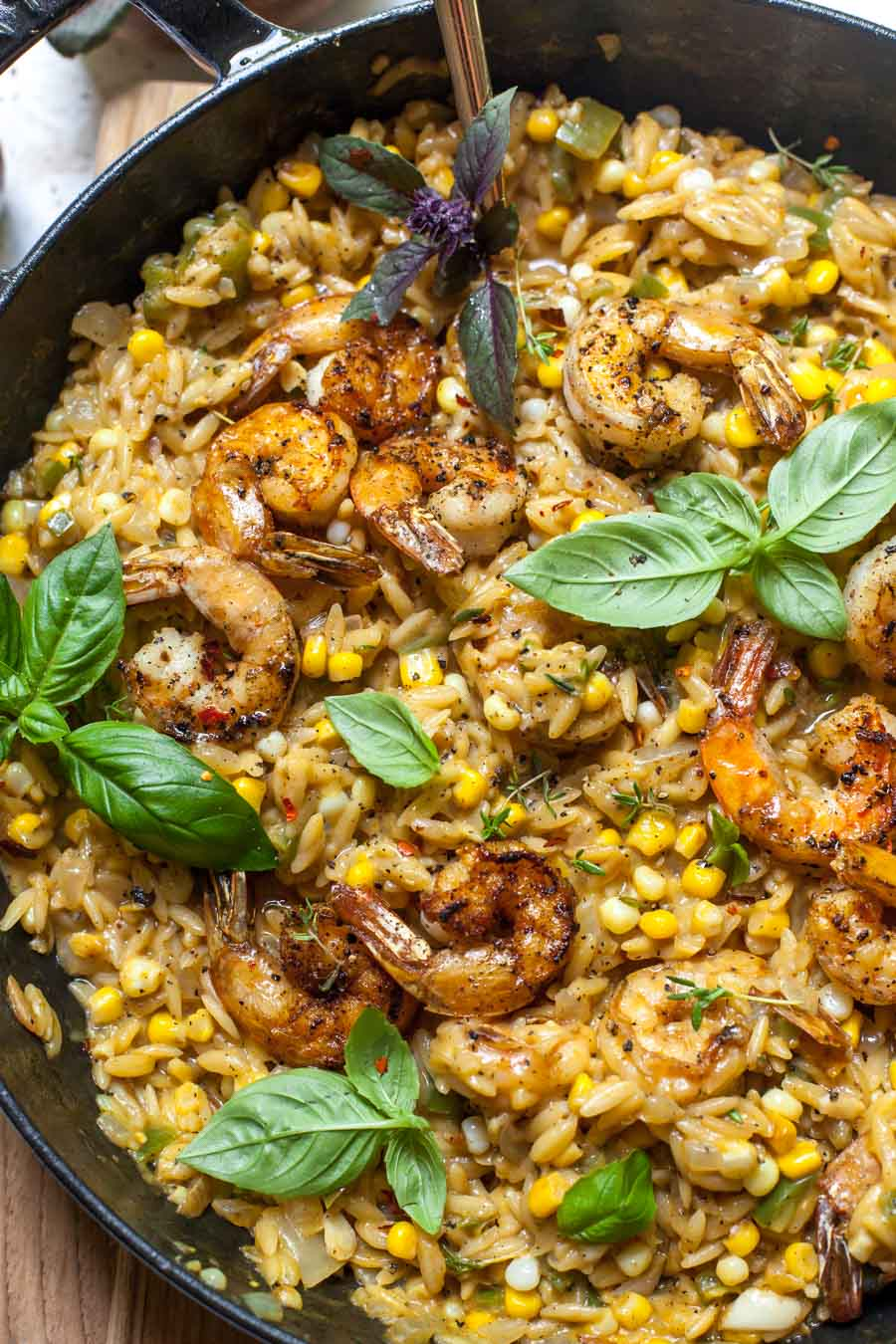One Skillet Shrimp and Creamed Corn Orzo