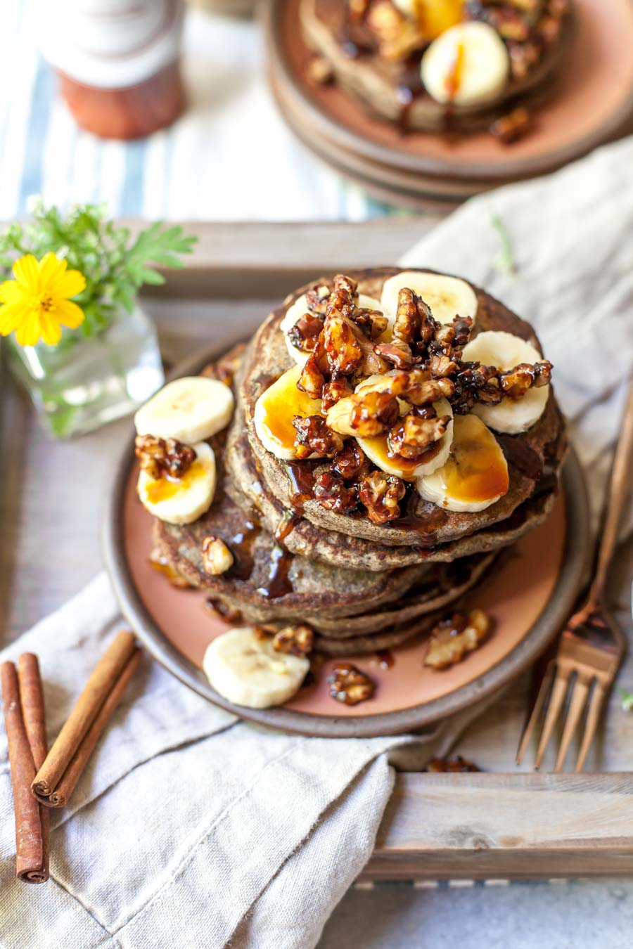 Gluten Free Banana Bread Pancakes with Walnuts and Date Syrup