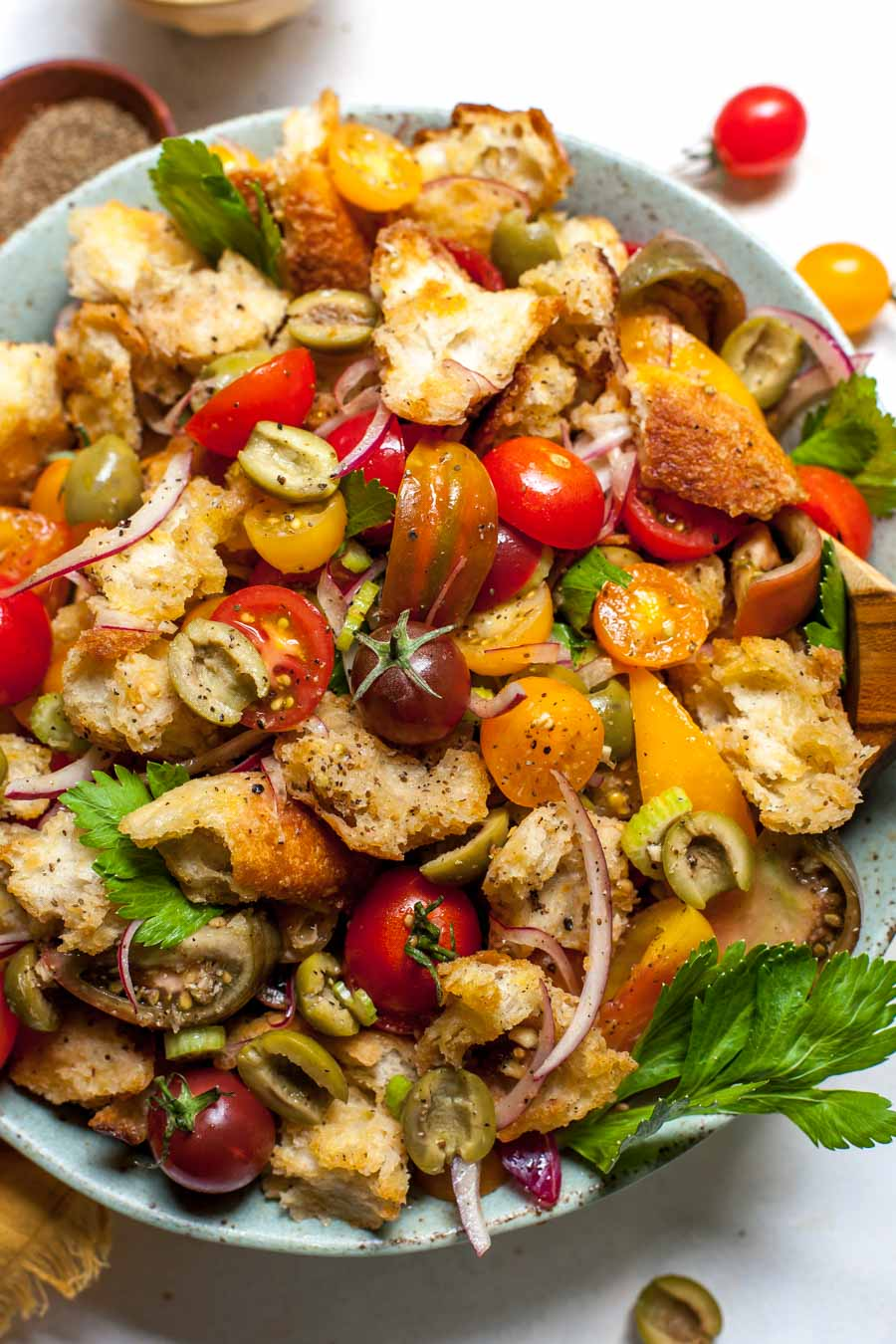 Tomato and Olive Panzanella Salad with Bloody Mary-inspired Dressing