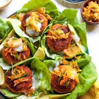 Salmon Slider Patties in Lettuce Wraps with Lemon Yogurt